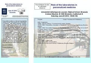 Role of the laboratories in personalized medicine June