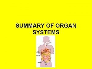 SUMMARY OF ORGAN SYSTEMS Skeletal Major Organs Bones
