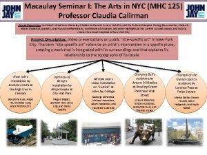 Macaulay Seminar I The Arts in NYC MHC