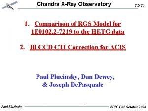 Chandra XRay Observatory CXC 1 Comparison of RGS