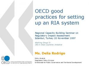 OECD good practices for setting up an RIA