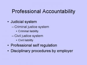 Professional Accountability Judicial system Criminal justice system Criminal