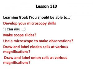 Lesson 110 Learning Goal You should be able