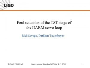 Pcal actuation of the TST stage of the