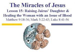 The Miracles of Jesus Lesson 15 Raising Jairus