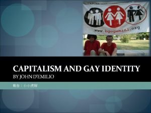 CAPITALISM AND GAY IDENTITY BY JOHN DEMILIO 1960