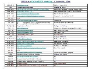 AGENDA CPACNe SSI Workshop 9 November 2006 08