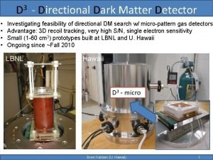 D 3 Directional Dark Matter Detector Investigating feasibility