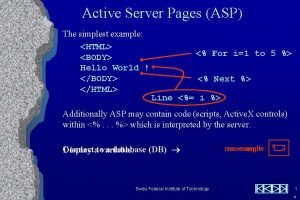 ASP Simplest Example Active Server Pages ASP The