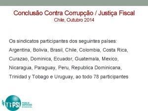 Concluso Contra Corrupo Justia Fiscal Chile Outubro 2014