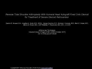 Reverse Total Shoulder Arthroplasty With Humeral Head Autograft