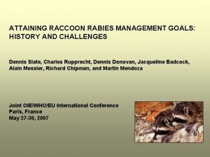 ATTAINING RACCOON RABIES MANAGEMENT GOALS HISTORY AND CHALLENGES