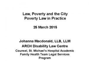 Law Poverty and the City Poverty Law in