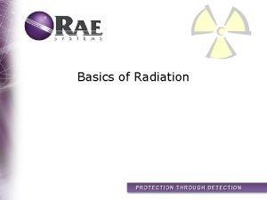 Basics of Radiation Topics Types of Radiation How