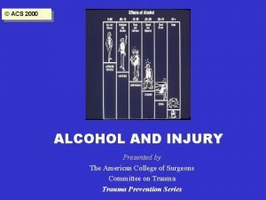 ACS 2000 ALCOHOL AND INJURY Presented by The