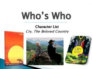 Whos Who Character List Cry The Beloved Country
