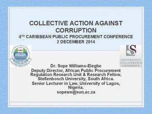 COLLECTIVE ACTION AGAINST CORRUPTION 4 TH CARIBBEAN PUBLIC
