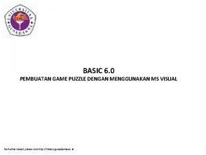 BASIC 6 0 PEMBUATAN GAME PUZZLE DENGAN MENGGUNAKAN