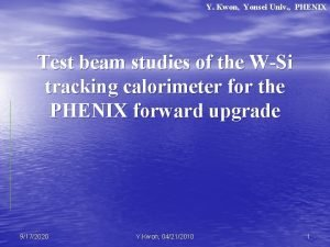 Y Kwon Yonsei Univ PHENIX Test beam studies