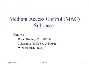 Medium Access Control MAC Sublayer Outline Bus Ethernet