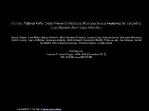 Human Natural Killer Cells Prevent Infectious Mononucleosis Features