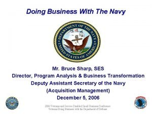 Doing Business With The Navy Mr Bruce Sharp