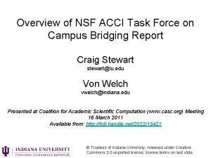 Overview of NSF ACCI Task Force on Campus