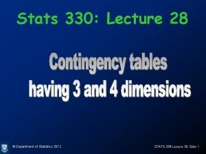 Stats 330 Lecture 28 Department of Statistics 2012