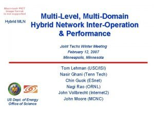 Hybrid MLN MultiLevel MultiDomain Hybrid Network InterOperation Performance