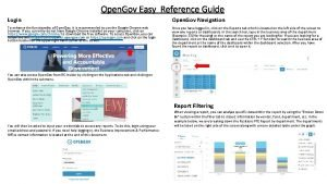 Open Gov Easy Reference Guide Login Open Gov
