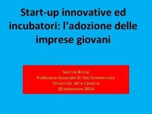 Startup innovative ed incubatori ladozione delle imprese giovani