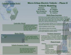 Micro Urban Electric Vehicle Phase II Vehicle Modeling