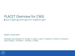PLACET Overview for CWG Program for Linear Accelerator