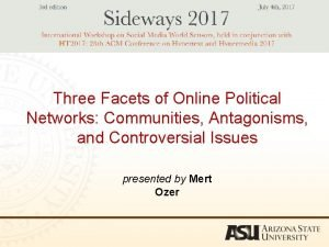 Three Facets of Online Political Networks Communities Antagonisms