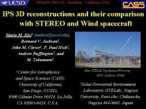 STEREO SWG 19 Pasadena California USA IPS 3