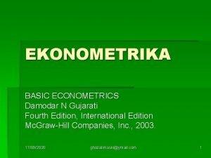 EKONOMETRIKA BASIC ECONOMETRICS Damodar N Gujarati Fourth Edition
