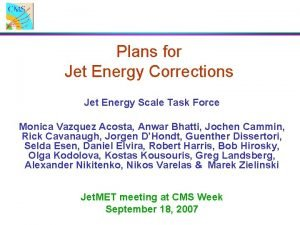 Plans for Jet Energy Corrections Jet Energy Scale
