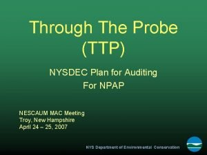 Through The Probe TTP NYSDEC Plan for Auditing