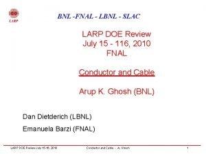 BNL FNAL LBNL SLAC LARP DOE Review July