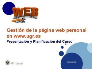 Gestin de la pgina web personal en www