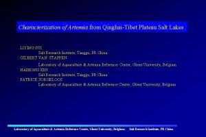 Characterization of Artemia from QinghaiTibet Plateau Salt Lakes