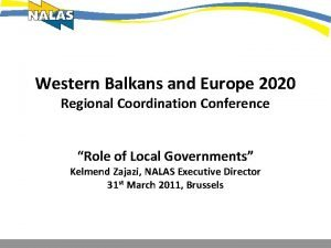 Western Balkans and Europe 2020 Regional Coordination Conference