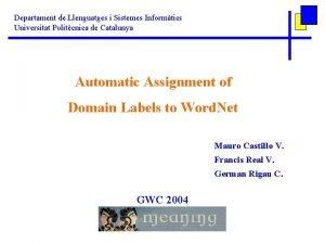 Departament de Llenguatges i Sistemes Informtics Universitat Politcnica