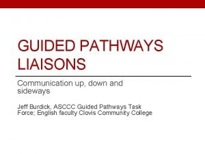 GUIDED PATHWAYS LIAISONS Communication up down and sideways