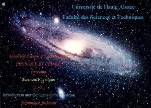 Universit de Haute Alsace Facult des Sciences et