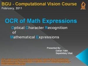 BGU Computational Vision Course February 2011 OCR of