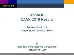CRGAQS CAMx 2018 Results Presentation to the Gorge