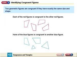 Identifying Congruent Figures Two geometric figures are congruent