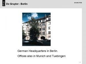 De Gruyter Berlin German Headquarters in Berlin Offices