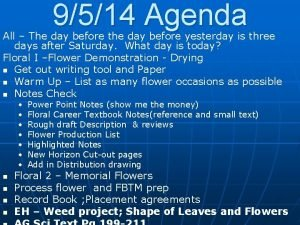 9514 Agenda All The day before the day